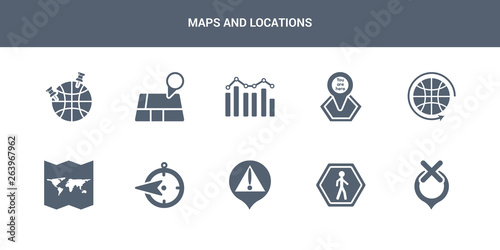 10 maps and locations vector icons such as unavailable