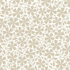 Hand drawn neutral silhouette flowers and leaves floral design. Vector seamless pattern on white background. Great for wellness, beauty products, fashion prints, stationery, packaging, giftwrap.