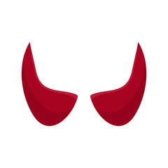 Red devil horn isolated on white background. Cartoon style. Clean and modern vector illustration for design, web.