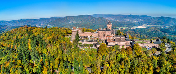 Obraz Aerial panorama of the Chateau du Haut-Koenigsbourg in the Vosges mountains. Alsace, France - fototapety do salonu