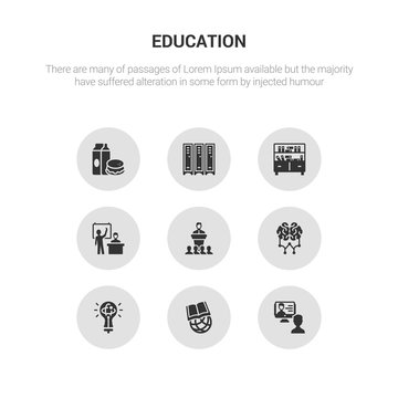 9 round vector icons such as interactive course, international, knowledge, learning, lecture contains lesson, library, lockers, lunch. interactive course, international, icon3_, gray education icons