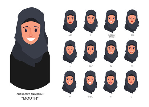 Lip sync collection for mouth animation. Arab or Muslim character people.