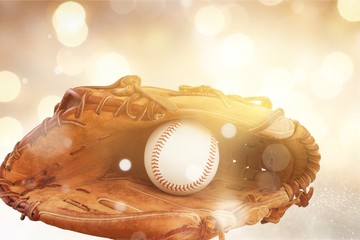 Baseball glove with a ball in it - isolated image