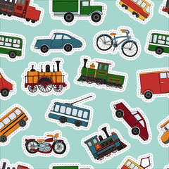 Vector colored seamless pattern of retro engines and transport stickers. Vector repeat background of vintage trains bus, tram, trolleybus, car, bicycle, bike, van, truck.