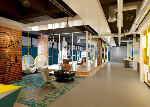 3d render modern working office