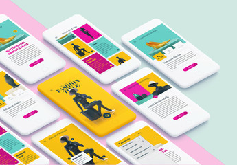 Interactive Mobile Presentation with Bright Colors and Fashion Elements