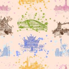 world sights seamless pattern background image image