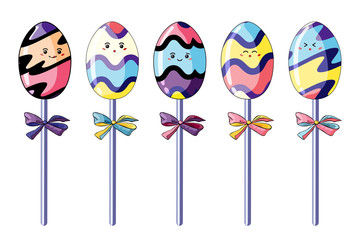 Vector illustration of colorful lollypops on a sticks with festive bows isolated on white background.