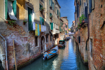 Historical houses on a canal in the old part of Venice, Italy