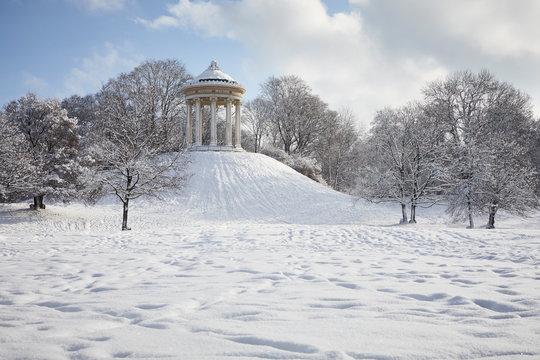 Germany, Munich, English Garden, Monopteros in winter