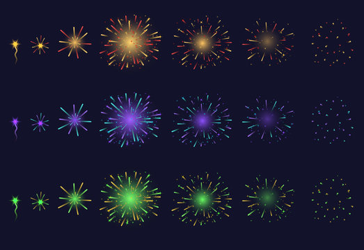 Realistic Detailed 3d Light Fireworks Animation Set. Vector