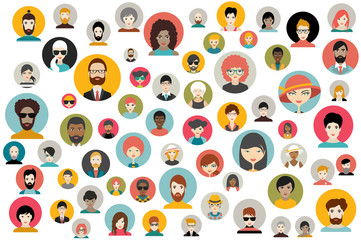 Mega set of persons, avatars, people heads  different nationality in flat style. Vector.