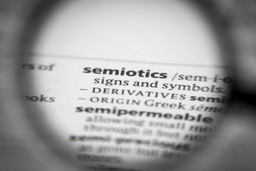 Word or phrase semiotics in a dictionary.