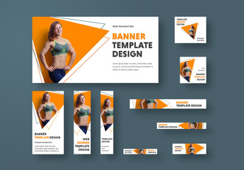 10 Fitness Health Web Banners with Geometric Accents
