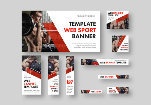 10 Fitness Health Web Banners with Diagonal Red Accents