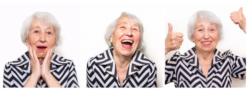 The collage from different emotions of senior woman.