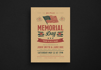 Retro Memorial Day Flyer Layout