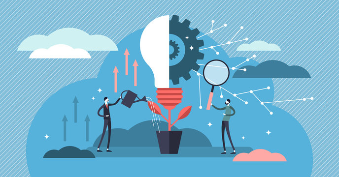 Innovation vector illustration. Flat tiny creativity ideas persons concept.