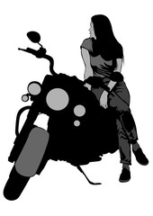 Wall Mural - Old bike and beautiful women on white background