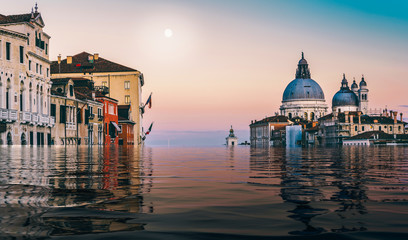 Digital manipulation of flooded Canal Grande in Venice, Veneto, Italy Wall mural