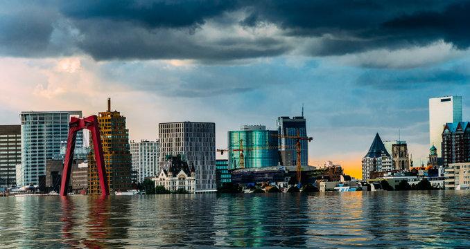 Digital manipulation of flooded Rotterdam, Netherlands downtown skyline