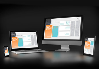 Laptop, Computer, Tablet, and Smartphone Mockup