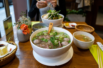 A vietname Pho soup in a restaurant