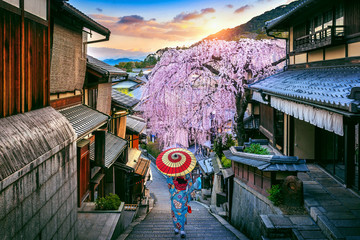 Wall Mural - Woman wearing japanese traditional kimono walking at Historic Higashiyama district in spring, Kyoto in Japan.