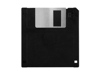 Old computer floppy disk, black diskette, no label, isolated on white background