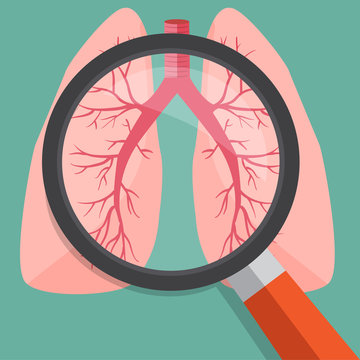 Magnifying glass on lungs.Vector illustration.