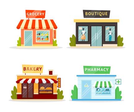 Shops facades flat illustrations set