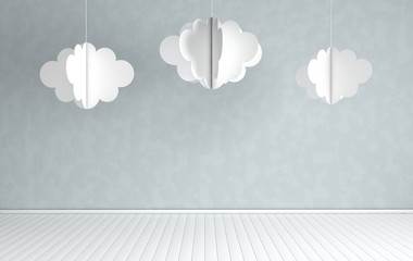 Interior of nursery with modern paper clouds decoration. 3d render. White and grey colors. Cosy childroom with empty wall  for text