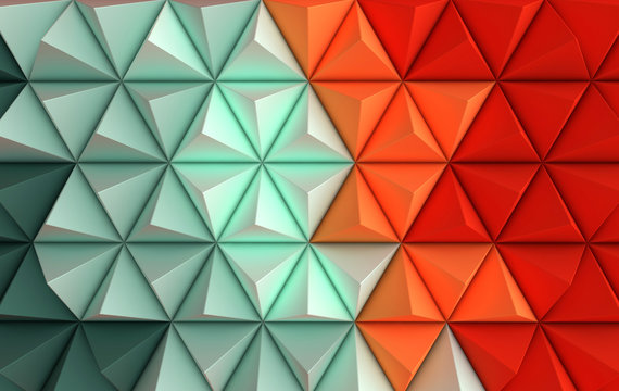 3d render coloful background. Paper pyramid geometric abstract illustration
