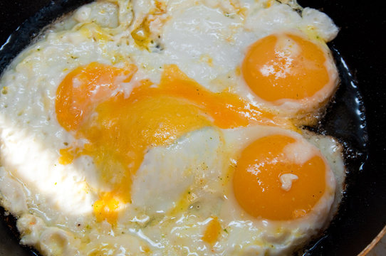fried eggs in a skillet