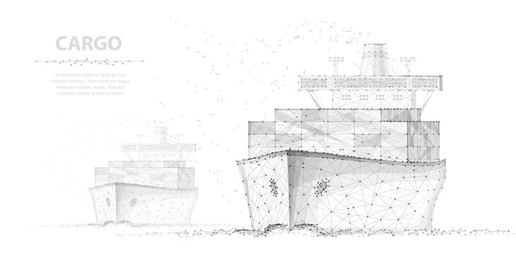 Worldwide cargo ship. Two boats. Abstract Polygonal wireframe vector. Container transportation, commercial logistic, delivery shipping