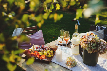 summer outdoor party table with white wine, cheese and ham plate with fruits. Garden festive table.