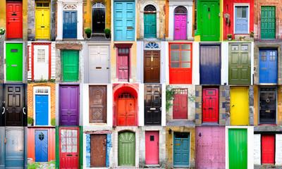 Collage de puertas de colores