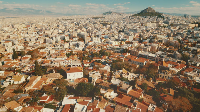 View of Athens, Greece city skyline from above.