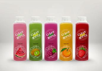 Set of 5 Clear Juice Bottles Packaging Mockup