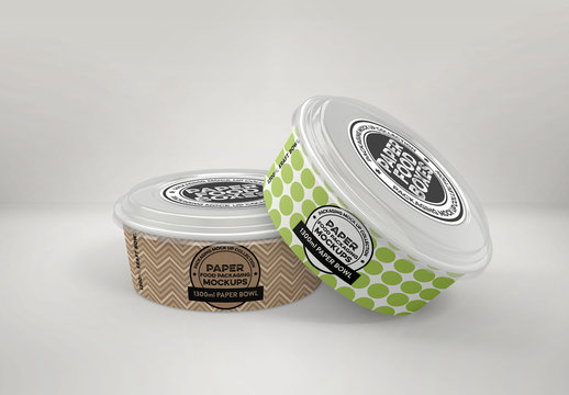 Pair of Paper Kraft Bowls with Clear Lids Mockup