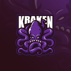 kraken mascot logo design vector with modern illustration concept style for badge, emblem and t shirt printing. angry octopus illustration.