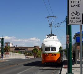 Refurbished streetcar in El Paso, Texas