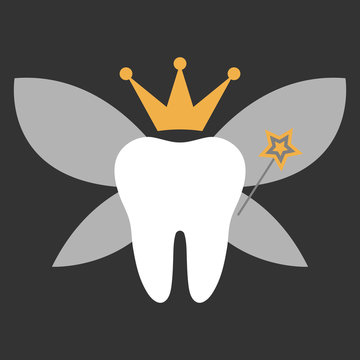 Tooth Fairy - Molar with fairy wings, crown, and magic wand
