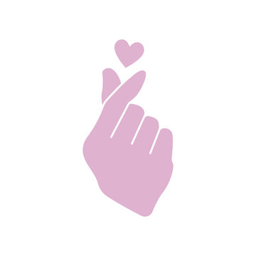 Korean Finger Heart Icon - Cute finger heart gesture icon isolated on white background and part of K-Pop icon collection