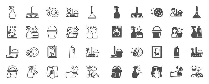 Cleaning line icons. Laundry, Window sponge and Vacuum cleaner icons. Washing machine, Housekeeping service and Maid cleaner equipment. Window cleaning, Wipe off, laundry washing machine. Vector