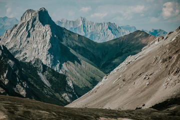 Layers Of Geology In Canadian Rockies Near Calgary