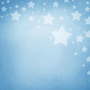 Stars on corner border of light pastel blue background with dark blue border in memorial day, veteran's day, July 4th, or election day design, superstar or blue night sky illustration