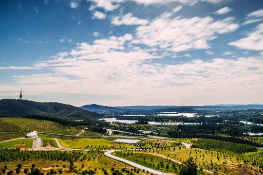 Landscape of over Canberra from National Arboretum