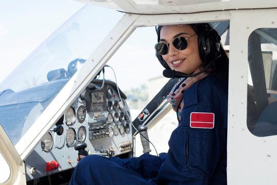 young woman aircraft pilot