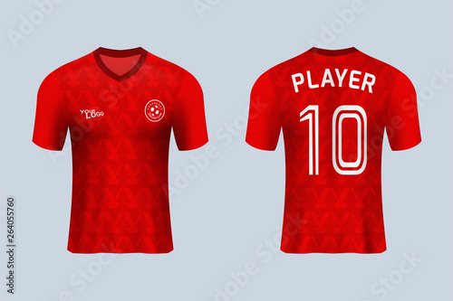 7fc816b15 3D realistic mock up of front and back of red soccer jersey t-shirt .  Concept for football team uniform or apparel mockup template in design  vector ...